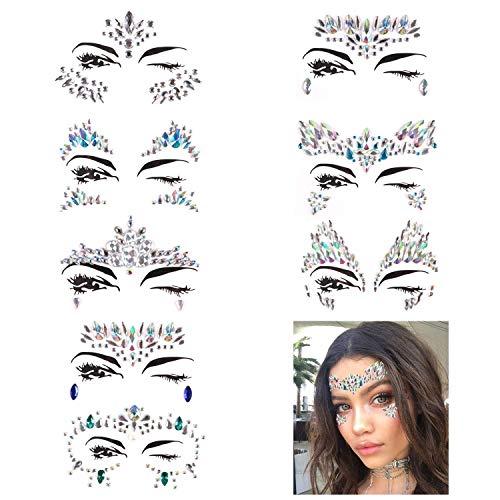 e zum Aufkleben - Schöne Glitzer Strasssteine selbstklebend - ideal als Gesichts- & Körperschmuck für verschiedene Anlässe ()