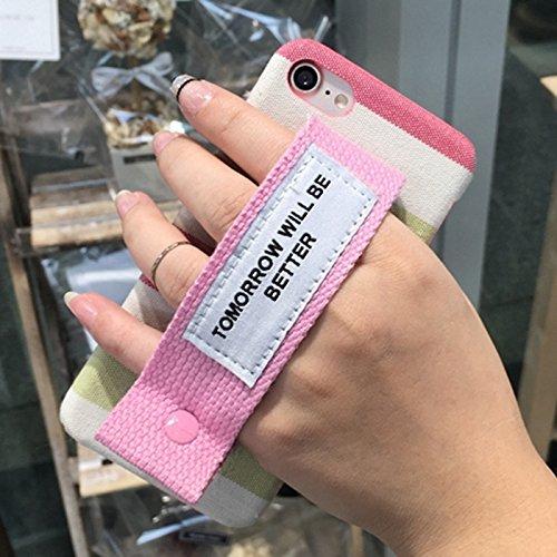 Mobiltelefonhülle - Für iPhone 7 Grid Pattern Canvas Schutzmaßnahmen zurück Cover Case mit morgen wird besser sein Red Wristband ( SKU : Ip7g0349c ) Ip7g0349c