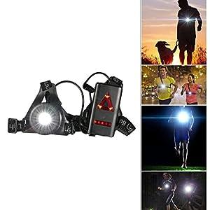 Rechargeable USB LED Eclairage de poitrine pour course, SGODDE Lampe 3 modes 250 lm Étanche, Léger, Confortable et Idéal pour Jogging, Promenade, Camping, Course, Pêche, Escalade, Sports Extérieur.