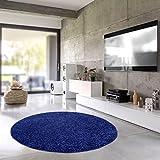 Teporio Shaggy-Teppich | Flauschiger Hochflor fürs Wohnzimmer, Schlafzimmer oder Kinderzimmer | einfarbig, schadstoffgeprüft, allergikergeeignet (Blau - 250 cm rund)