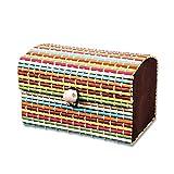 Lovinda Schmuckkästchen Kleiner frischer minimalistischer Retro Bambusvorhang Geschenkbox Aufbewahrungsbox Für ring armband Anhänger Halskette 9 * 6 * 6 cm,Bunt