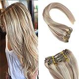 YoungSee Clip in Extensions Echthaar Blond Gesträhnt Dunkle Aschblonde mit Gebleichtes Blond Double Weft Haarverlängerung Clips Echthaar Gute Qualität 55 cm 7pcs/120g