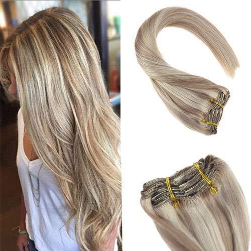 YoungSee Clip in Extensions Echthaar Blond Gesträhnt Dunkle Aschblonde mit Gebleichtes Blond Double Weft Haarverlängerung Clips Echthaar Gute Qualität 45 cm 7pcs/120g