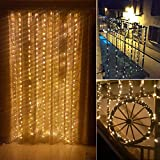 LeaderPro NEU LED Lichterkette Lichtervorhang 8 Modi IP65 Wasserdicht für Bett, Fenster, Party, Hochzeit, Deko, Weihnachten Timer Funktion Ferbedienung außen/innen (Warmweiß 3m x 3m 300 LEDs)