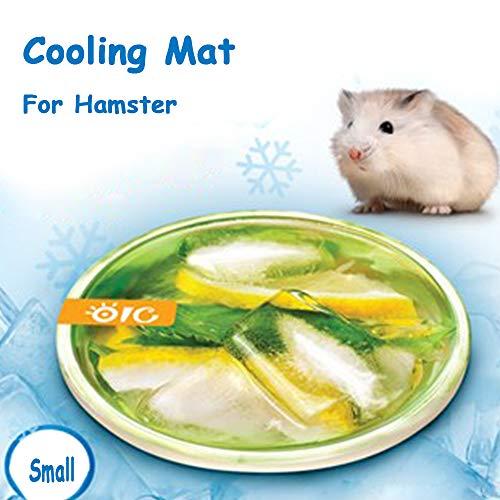 FLAdorepet Magische Meerschweinchen-Kühlmatte für den Sommer, kleine Tiere, Kaninchen, Chinchilla, Kühlbett, Haus, absorbiert Wasser, S Lemon (Dia 3.9
