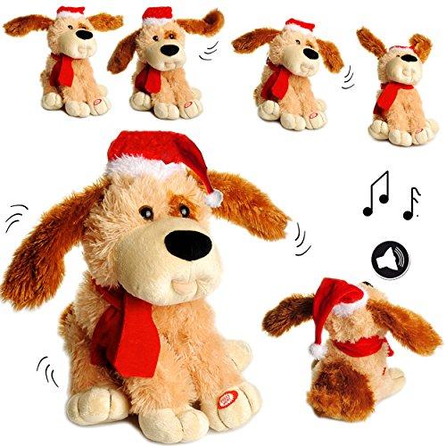 alles-meine.de GmbH XL - singender & Tanzender - Hund -  A Merry Christmas  - Plüschtier mit Sound & Bewegung - 32 cm - aus Stoff / Plüsch - Weihnachtsmann / Weihnachtshund / W..