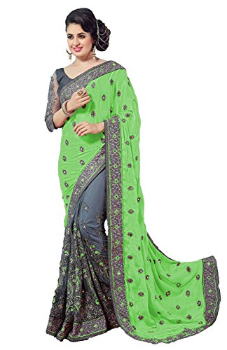 Nivah Fashion Women's Sattin & Net Half N Half Embroidery With Real...