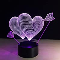 QINQIN LED Creative una freccia attraverso la lampada da tavolo di visione di regalo di cuore regalo di acrilico colorato Touch 3D
