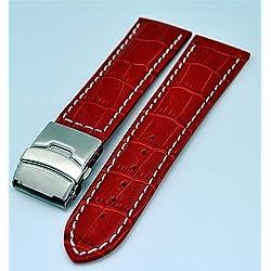 Uhrenarmband mit Faltschließe 22mm rot mit weisser Naht 3944