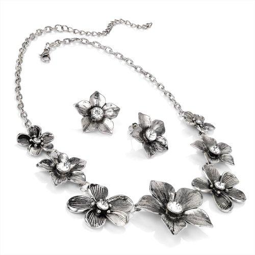 Bling online look antico fiore con dettagli in cristallo set collana e orecchini., colore: burnished silver.