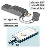 Callstel Speichererweiterung: USB Speicher-Erweiterung für iPhone/iPad/iPod, bis 128 GB, Apple MFI...