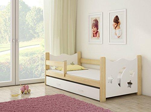 Infantasie \'Nachthimmel\' Kinderbett Komplett Set 160 x 80 cm inkl. Matratze, Lattenrost und Bettkasten Unterbett Schublade auf Rollen, extra Rausfallschutz Seitenteil (verstellbar), Design: Weiß/Holz