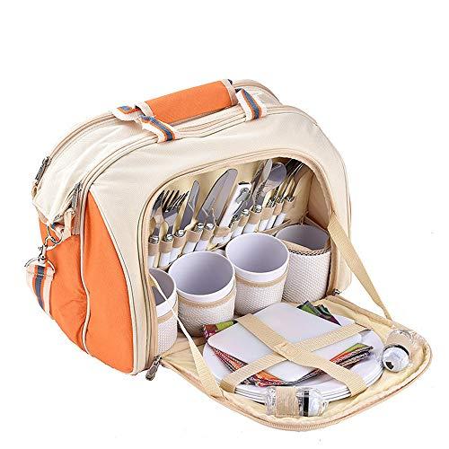 Picknick-Rucksäcke 4 Person Picknick Rucksack Tasche mit Decke beinhaltet 29 Stück Kühltasche abnehmbare Flasche / Weinhalter Fleecedecke Besteck und Platten Geeignet für Camping Wandern Picknick