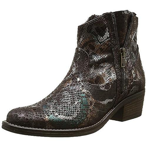 Ital-Design Cowboy-/Westernstiefeletten Damen Schuhe Cowboy Stiefel Kubanischer Absatz Western Style Reißverschluss Stiefeletten Schwarz, Gr 37, 7768-