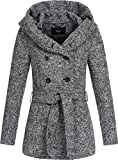 ONLY Damen Kurzer Wollmantel Lisa XL-Kapuze 15156576 medium Grey Melange S