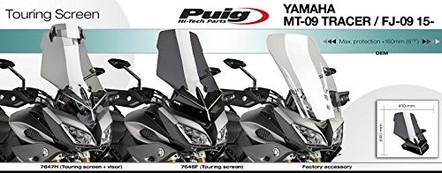 Windshield Touring Puig Vario Yamaha MT-09 Tracer 15-16 light smoke