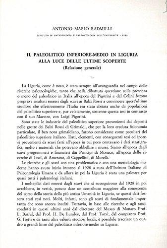 Il Paleolitico inferiore-medio in Liguria alla luce delle ultime scoperte.