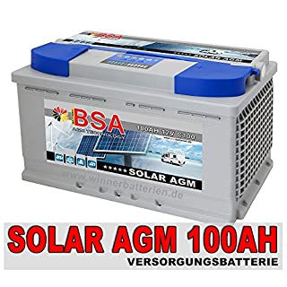 BSA Solarbatterie 12V 100Ah Solar Akku Wohnmobil Boot Mover Schiff AGM Gel Batterie
