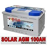 BSA Solarbatterie 12V 100Ah Solar Akku Wohnmobil Boot Mover Schiff