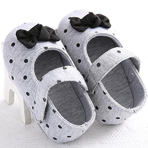 Xshuai Baby Mädchen Herbst Frühling Bowknot Schuhe Soft Sole Crib Kleinkind Anti-Rutsch Dot Cute (0-6 Monate, Grau)