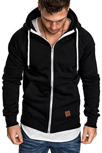 Amaci&Sons Herren Zipper Kapuzenpullover Sweatjacke Pullover Hoodie Sweatshirt 4026 Schwarz L