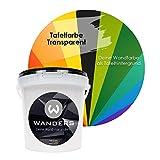 Wanders24 Tafelfarbe transparent (1 Liter) seidenglänzende Wandfarbe für die individuelle Gestaltung farbiger Flächen, Farbe Made in Germany