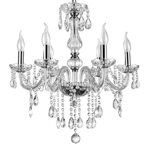 GOTOTP Lámpara Clásica de Araña de 6 Brazos de Cristal Colgante Decoración de la Sala