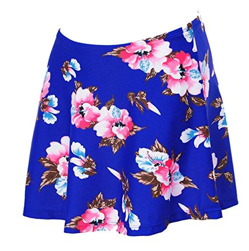 Azue Bikinirock mit Innenslip Schwimmrock mit Integrieter Baderock Badeshorts für Damen und Mädchen Blau mit Rosa Blume 40-42 Blau mit Rosa Blume EU 40-42 (Tag XL) (Kinder Größen Heelys)