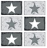 6er Set de manteles individuales con forma de estrella de nueva diseño de estrellas de la vendimia 70985 juego de mesa de madera de acabado mate para debajo de la ubicación de la mesa de centro de colour blanco y plata de colour gris 44 x 29 cm