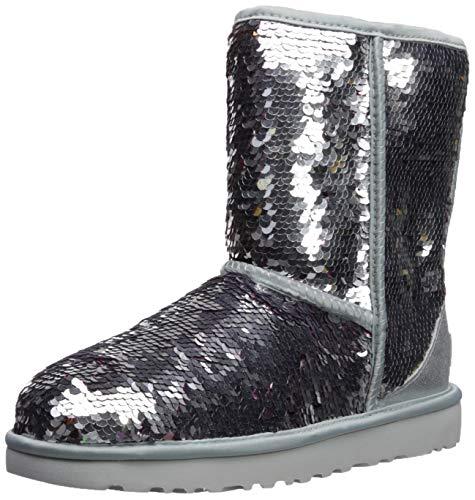 UGG Damenschuhe - Stiefel Classic Short Sequin - Silver, Größe:40 EU (Ugg Silber Stiefel)