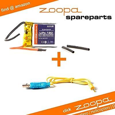 ACME - zoopa 150 Helikopter Ersatzteil-Set   USB Ladekabel + Austausch-Akku (AA0150-A) von ACME the game company GmbH