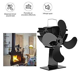 Ventilador silencioso para estufas con ventilador de calefacción, 4 aspas ajustables para quemador de leña/leña…