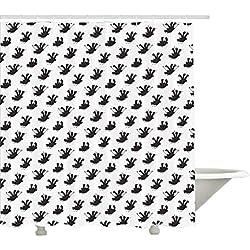 Yeuss Dragon Shower Curtain, Schizzo a Tre Teste di Drago umoristico in Bianco e Nero Selfie Stick Fire-Spewing, Set di Arredamento Bagno in Tessuto con Ganci, Bianco Nero