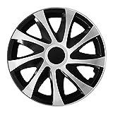 (Größe & Farbe wählbar) 13 Zoll Radkappen DRACO BIC (Schwarz/Silber) passend für fast alle Fahrzeugtypen - universal