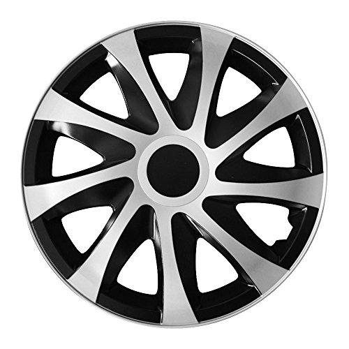 (Größe & Farbe wählbar) 16 Zoll Radkappen DRACO BIC (Schwarz/Silber) passend für fast alle Fahrzeugtypen - universal