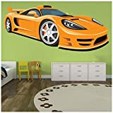azutura Gelber Porsche Carrera Wandtattoo Sportwagen Wand Sticker Jungen Garage Wohnkultur Erhältlich in 8 Größen X-Groß Digital