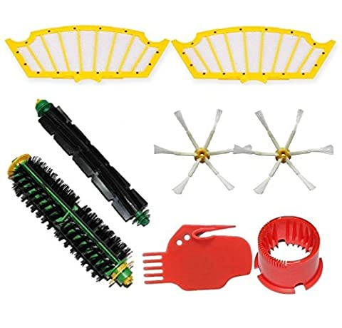 Aiskaer 2 Brush Cleaning Tools & 1 Bristle Brushes & 1 Flexible Beater Brushes & 2 Side Brushes 6-Armed & 2 Filters Pack Mega Kit for iRobot Roomba 500 Series Roomba 510, 530, 535, 540, 560, 570, 580, 610 Vacuum Cleaning Robots all Green, Red, Black cleaning head