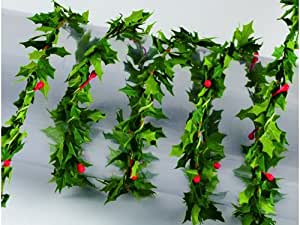 EFCO - Ghirlanda con  bacche e foglie di agrifoglio, 12 m x 1 cm, colore: verde