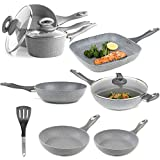 Salter COMBO-3693 Marble Collection Complete Non-Stick Cookware Set with Nylon Slotted Spatula