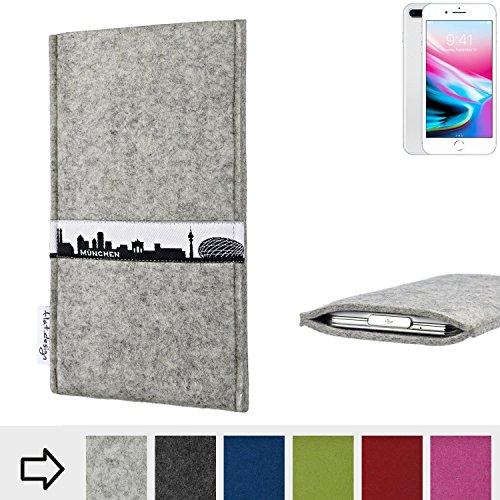 flat.design Filzhülle SKYLINE mit Webband München für Apple iPhone 8 Plus - individuelle Handytasche aus 100% Wollfilz (hellgrau) - Case im Slim fit Design für Apple iPhone 8 Plus hellgrau