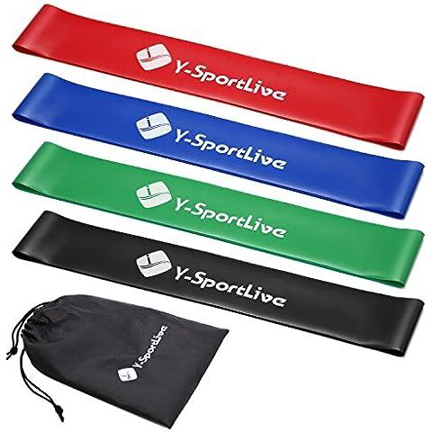 Bandas de resistencia–y-sportlive Premium ejercicio bandas (Set de 4) para trabajar fuera o terapia física–Best Fitness bandas para entrenamiento de fuerza y Home Fitness–para Hombres y