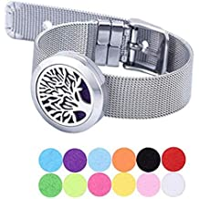 Peora Stainless Steel Essential Oil Diffuser Aromatherapy Tree Design Bracelet for Women Men with 10 Refill Pads