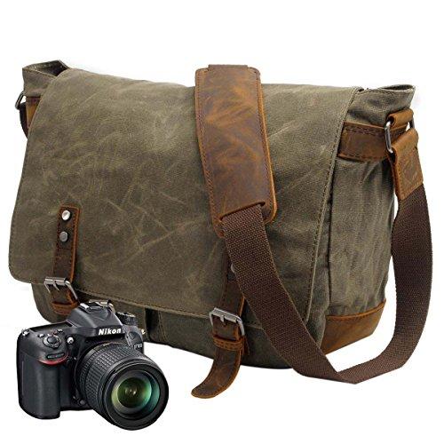 Neuleben Kameratasche wasserdichtes und abnehmbares Kamerafach für DSLR Umhängetasche Laptoptasche für 14´´ Vintage Damen Herren (Grün + Kamerafach)