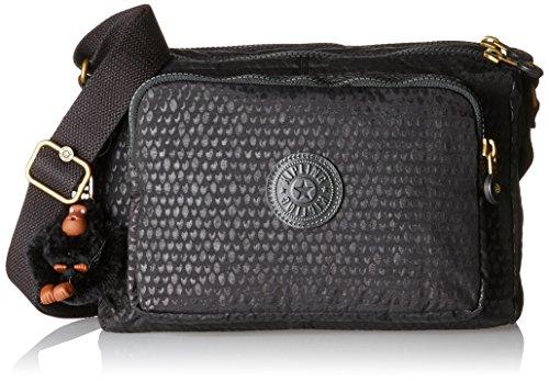 Kipling Reth, Women's Cross-Body Bag, Schwarz (Black Scarlet Emb), 27x17.5x0.1 cm (B x H T)