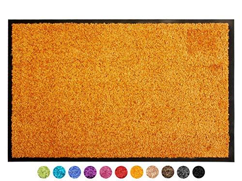 Primaflor - Ideen in Textil Schmutzfangmatte CLEAN - Orange 90x150 cm, Waschbare, rutschfeste, Pflegeleichte Fußmatte, Eingangsmatte, Küchenläufer Sauberlauf-Matte, Türvorleger für Innen & Außen