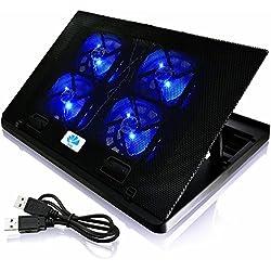 AAB Cooling NC88 - Ventilateur PC avec 4 Ventilateurs, Inclinaison Réglable et Rétroéclairage Bleu | Refroidisseur PC Portable | Ventilateur PS4 | Ventilateur PC Gamer Jusqu'à 15,6 Pouces et Consoles