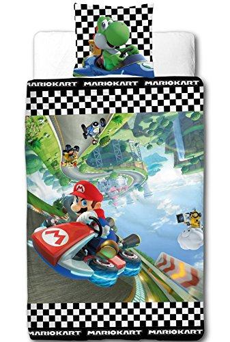 MARIO Kart Kinder Bettwäsche · RACE · Nintendo Super Mario Kart 8 · Wende Motiv - Kissenbezug 80x80 + Bettbezug 135x200 cm - 100{7e1757fb925227483f9d7799e9b4db0c89d96831e37a12fd50b67627009c8ef5} Baumwolle