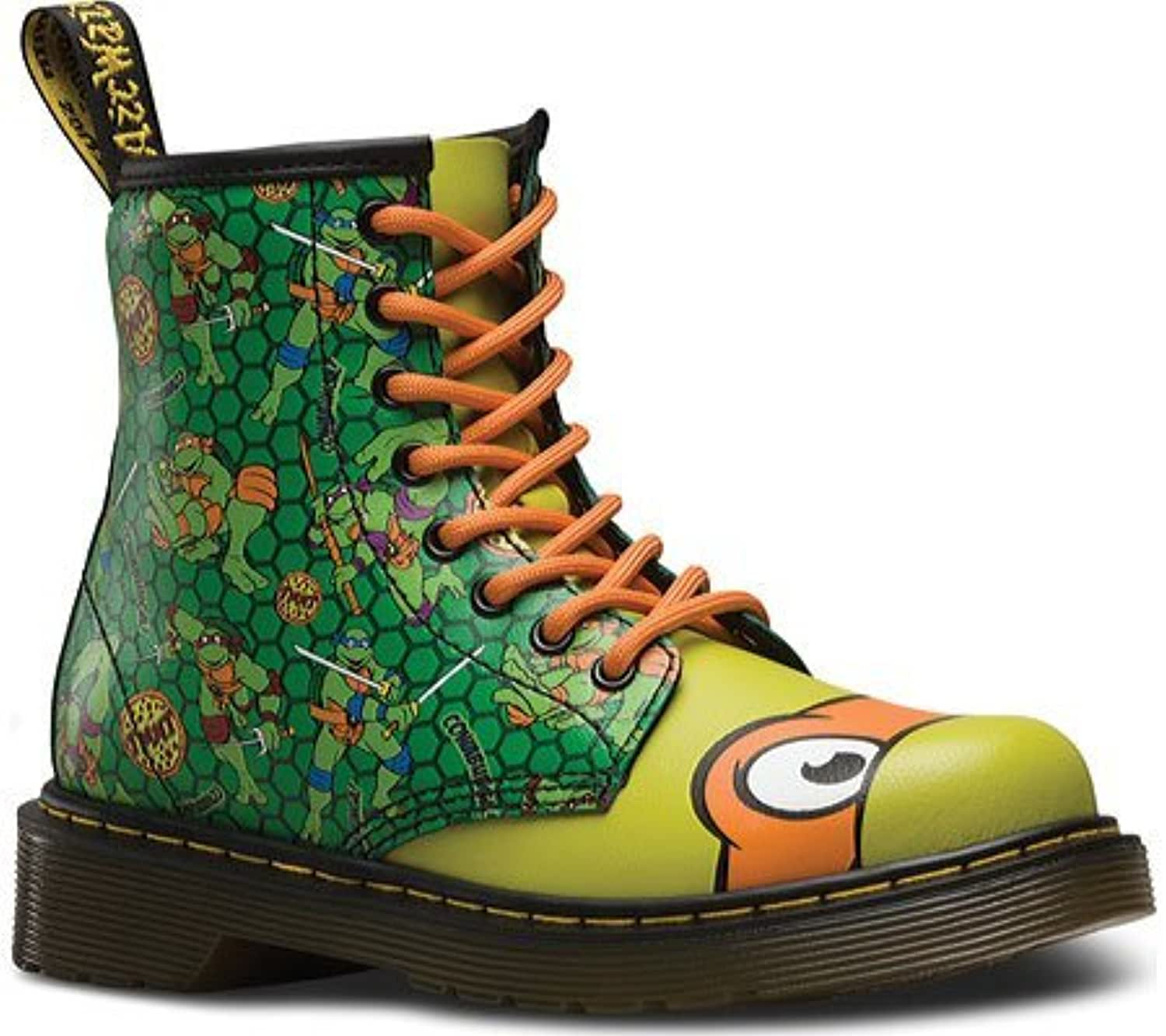 Dr Martens Juniors TMNT Mikey Leather Lace Up / Zip Boot Green-Green-12