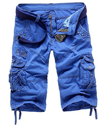 Panegy Herren Jungen Causal Baumwolle Cargo Shorts Cargohose 3/4 Pants mit Gürtel - Knallblau Inch Größe W34