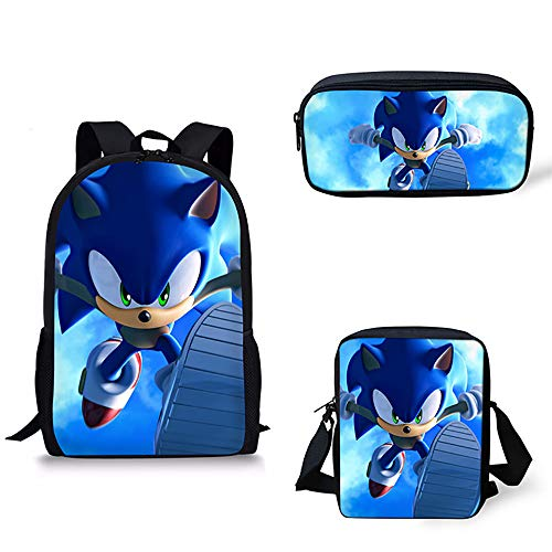 16 inch Schulrucksack Igel Sonic Muster Kinder Reisetasche mit Umhängetasche und Bleistiftbeutel für Mädchen Jungs,F